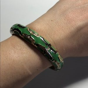 Jewelry - Green, gold and silver enamel bracelet